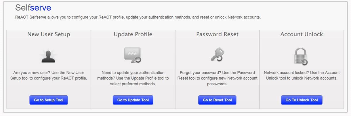 Password reset and account unlocks through React Selfserve – City of